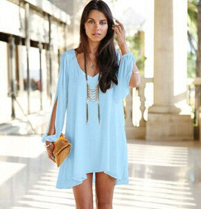 Long sleeve solid color Chiffon V Dress Vestidos Beach Dress Loose V-neck dress