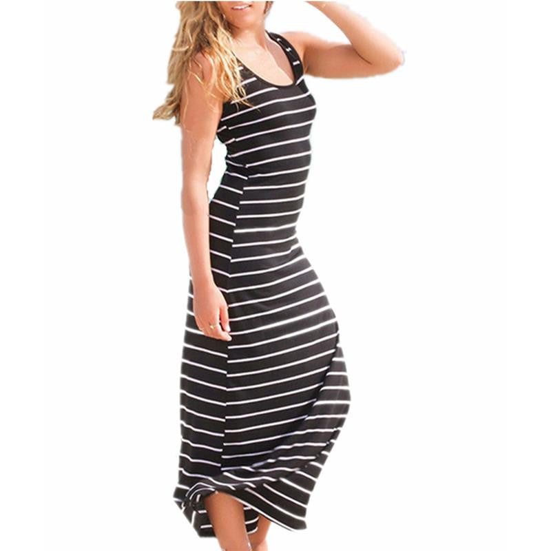 Maxi Long Dress Summer Style Sexy Ladies Beach Vest Dress Striped Boho Long Sleeveless Casual