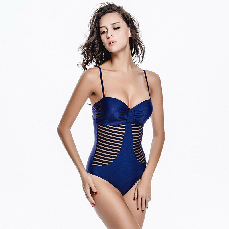 Faerdasi Sexy One piece Swimwear Women Solid Swimsuit Bandage Push up One-piece Bathing suit Hollow Beachwear Mesh Monokini