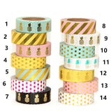 New 1X 15mm  Gold Stamping Pineapple Fruit Japanese Washi Tape Scrapbooking Tools Papelaria - Bohemian Gift Stores
