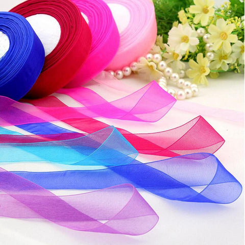 50 Yard/Rolls 45M Pretty Silk Organza Double Face Transparent Ribbon For Wedding Party Decoration Crafts Gift Packing Belt - Bohemian Gift Stores