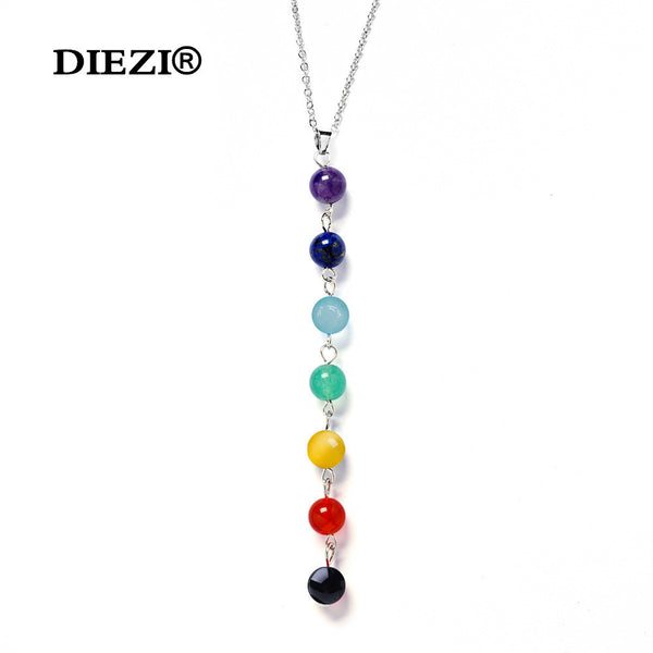 7 Chakra Gem Stone Beads Pendant Necklace Women Yoga Reiki Healing Balancing Maxi Chakra Necklaces Bijoux Femme Jewelry 2016 New