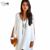 Image of Summer Dress 017 casual Plus Size Women Clothing Long sleeve solid color Chiffon V Dress Vestidos Beach Dress Loose neck dress