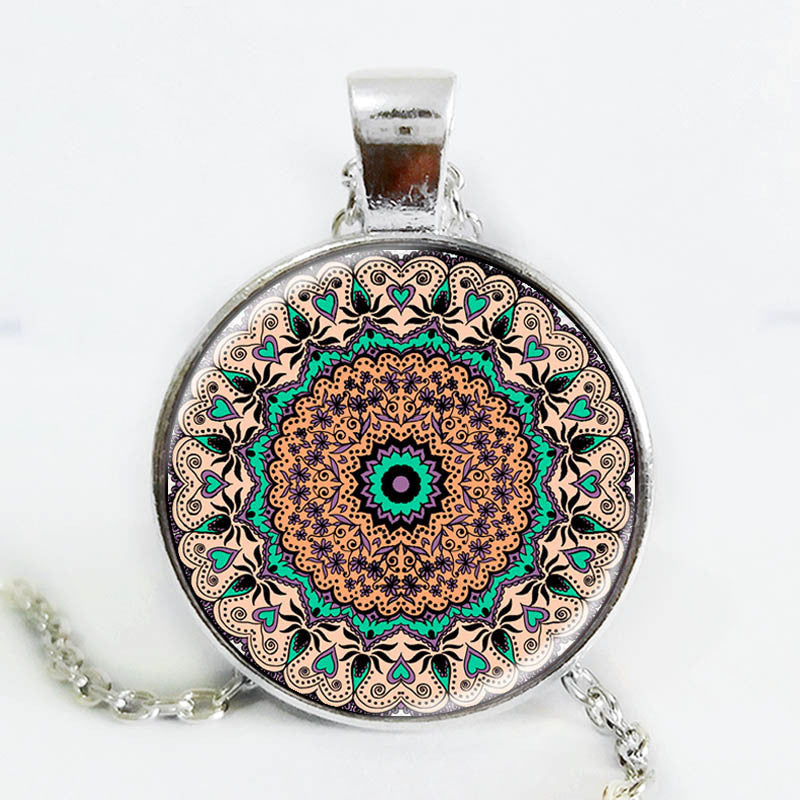 The latest design art gift Splendor of Color Kaleidoscope Mandala Necklace Glass Cabochon Necklace jewelry - Bohemian Gift Stores
