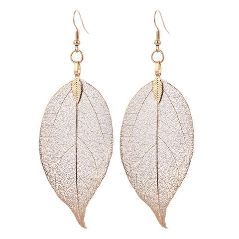 Bohemain Long Earrings Unique Natural Real Leaf Big Earrings For Women Fine Jewelry Gift - Bohemian Gift Stores