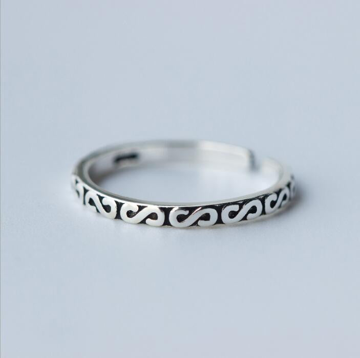 925 Thai Silver Rings for Women Adjustable Letter Ring - Bohemian Gift Stores
