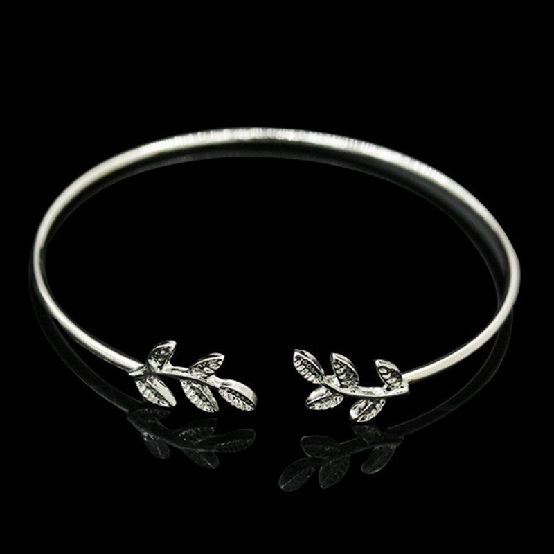 Leaves Gold & Silver Plated Bracelets & Bangles Fashion Open Bangle Women Cuff Bracelet - Bohemian Gift Stores