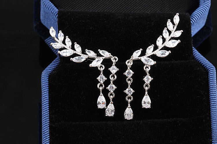 925 Sterling Silver Earrings Long Leaves AAA Zircon Earrings For Women's Wedding Gift Luxury CZ Diamond Stud Earrings Jewelry - Bohemian Gift Stores