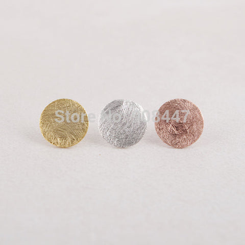 Round Earrings for Women Gold Silver Pink Gold Brushed Round Circle Stud Earrings - Bohemian Gift Stores