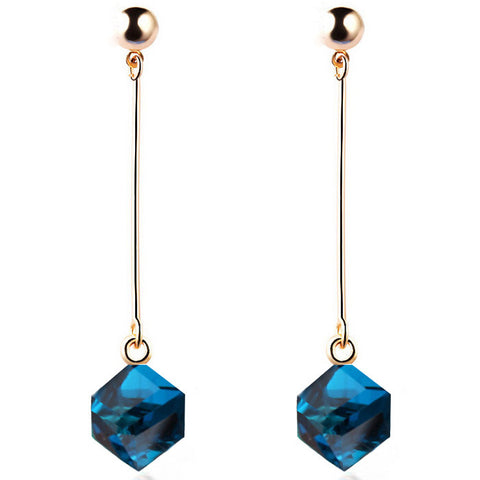 Charm earrings with stones multicolor simple long drop cube crystal red jewelry dangle earrings - Bohemian Gift Stores