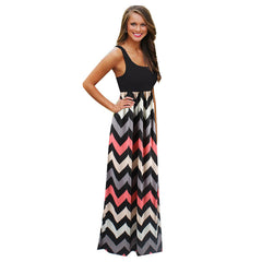 11cfd09b0758 2016 Hot Sexy Women Dress O Neck Striped Print Maxi Long Dress Sleeveless Beach  Summer Dresses ...