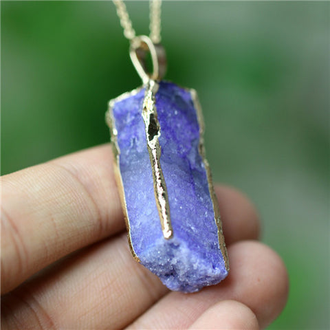 Agate Pendant Women Natural stone jewelry Druzy Geode Necklaces for women love gift fashion charms jewelry - Bohemian Gift Stores