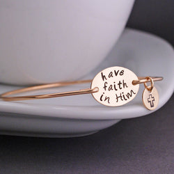 """have faith in Him"" Bangle   Gold Plated Inspirational Words Bangles Bracelet - Bohemian Gift Stores"