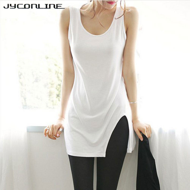 2017 Summer Casual Tank Tops Long T Shirts Women Solid Sleeveless Tees Shirt Femme Ladies Modal O-Neck Plus Size Tank Top Tshirt