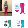 Image of 3Y-9Y Girl Mermaid Tail custome Baby girl kids Mermaid Tail fancy green Dress Swimmable Bikini Set Bathing Suit Cosplay Costume