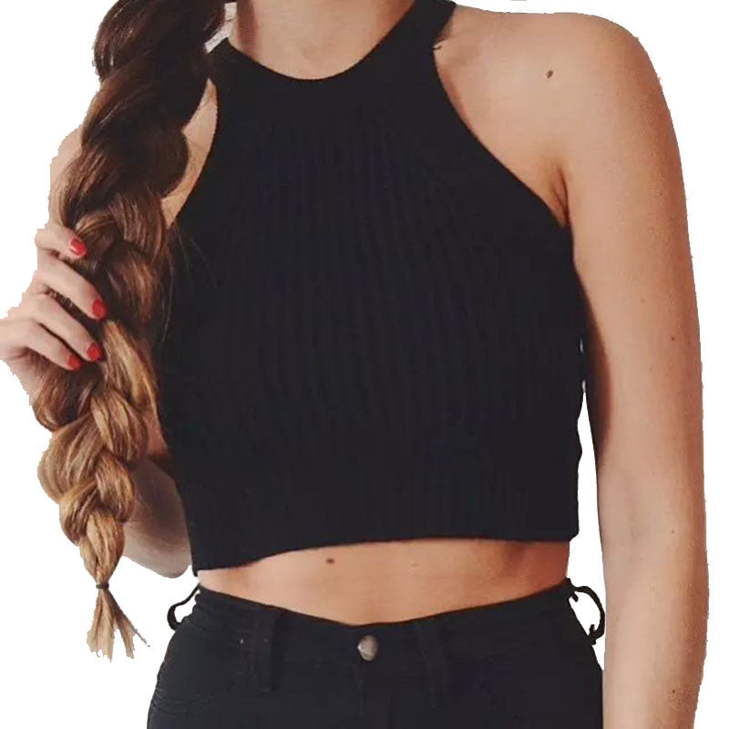 Halter Cut Away Tight Knit Crop Top Cropped Top Sleeveless Camis Tank Tops Beach Sweater Tops - Bohemian Gift Stores