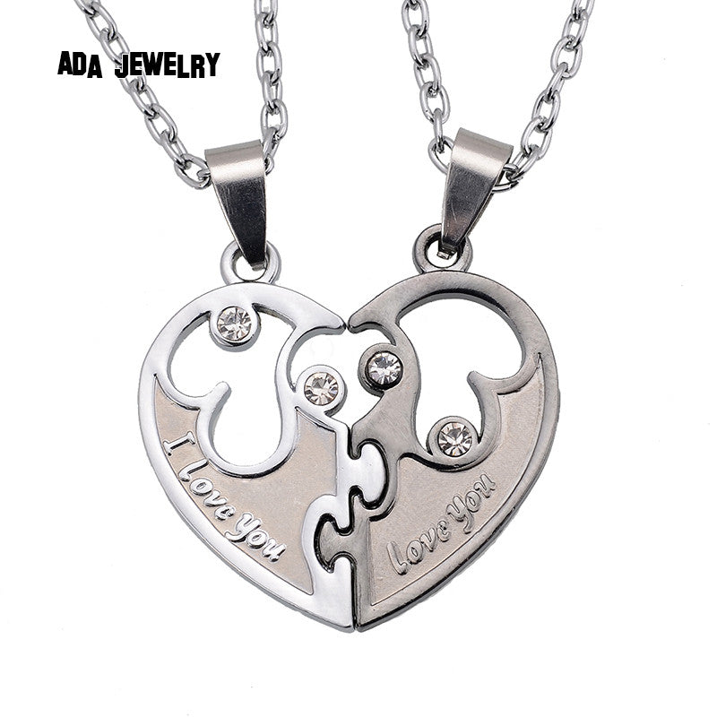 I Love You Couples Lover Pendant Men And Women Necklaces  Wholesale Stainless Double Heart Necklace Jewelry