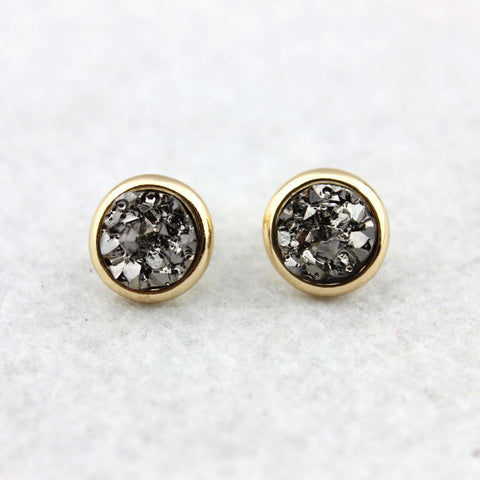 Pave Puddle Round Drusy Earrings Female Gold Flake Druzy Stud Earrings Jewelry - Bohemian Gift Stores