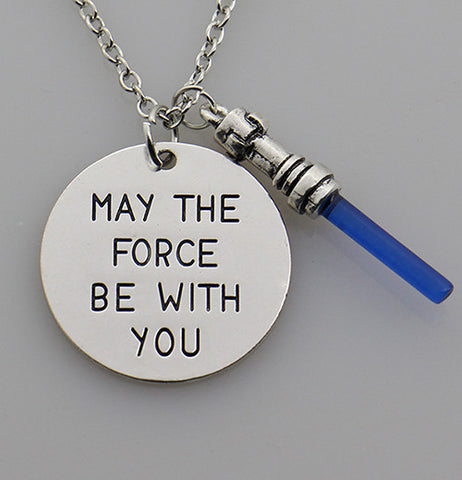Star Wars7 May the force be with you Hand Stamped Necklace,the Force Awaken Sword of Light Lightsaber Pendant Movie Jewelry - Bohemian Gift Stores