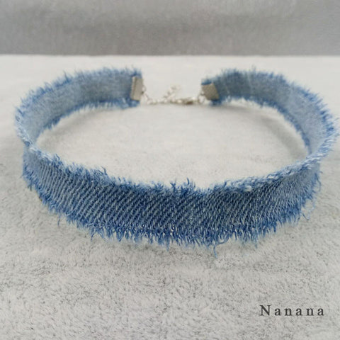 1CM Width Blue Denim Choker for Women Distressed Denim Jeans Choker Chockers Necklace Jewelry Collier  C345