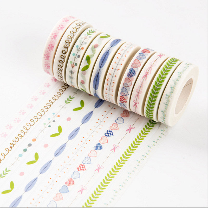 Flower Grass Washi Tape Lovely Heart Adhesive Masking Tape For Scrapbooking Free Shipping 3002 - Bohemian Gift Stores