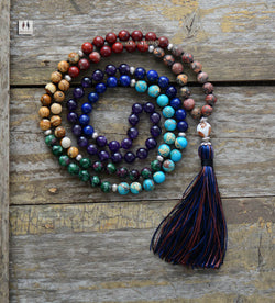 7 Chakra Mala Unique 8MM Natural Stone Jasper Long Tassel Necklace Women Meditation Necklace Knotted Bead Yoga Necklace Jewelry - Bohemian Gift Stores