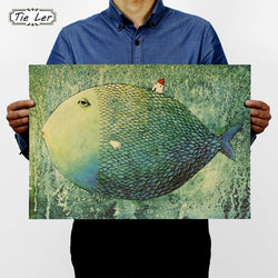 TIE LER Big Fish Small House Kraft Paper Poster Children Bedroom Adornment Frameless Retro Vintage Poster Wall Sticker - Bohemian Gift Stores