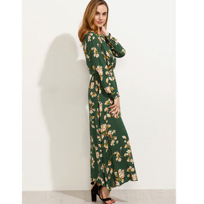 2017 New Spring Flowers Printed Long Dress Women Fashion Office Maxi Dress Plus Size Robe Femme Long Sleeve Vestidos Mujer
