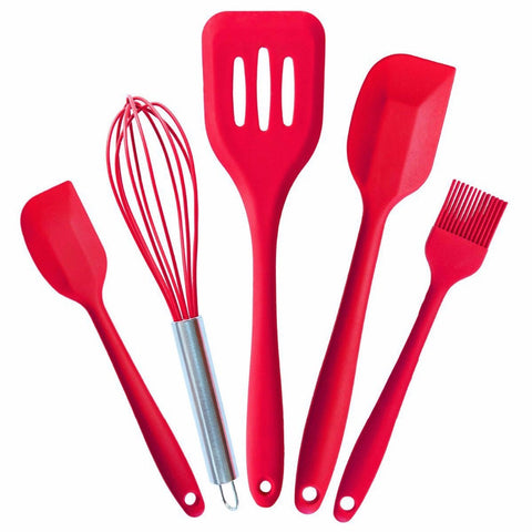 5pcs/set Silicone Spatula FDA Kitchen Utensils Cookware For Basting Brush Whisk Small Spatula Large Spatula Turner JSF-Spatulas