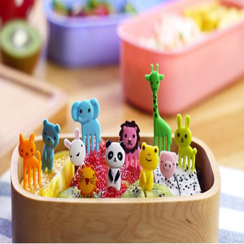 10pcs/set Animal Farm mini cartoon fruit fork sign resin fruit toothpick bento lunch children decorative Color Random