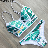 ZMTREE New Women Sexy Swimwear Brazilian Print Zipper Bandeau Triangle Bikinis Set Padded Swimsuit Female Beach Biquinis 2017