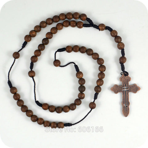 NEW 10x Dark Brown Rosary Beads Orthodox Cross Alloy Pendant Necklace Fashion Religious jewelry Wholesale