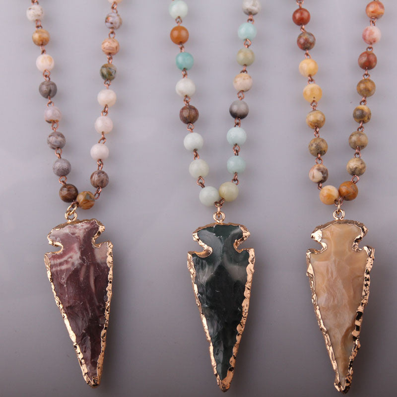 Fashion Crazylace Agate Bohemian Jewelry Rosary Chain Arrowhead Pendant Necklace Natural Stone Halsband