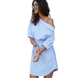 2016 Fashion one shoulder Blue striped women shirt dress Sexy side split Elegant Puff sleeve waistband Casual beach dresses