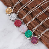 DoreenBeads 2016 Summer Handmade Druzy Drusy Resin Cabochon Round Pendant Necklace New Fashion Bohemia Woman Jewelry