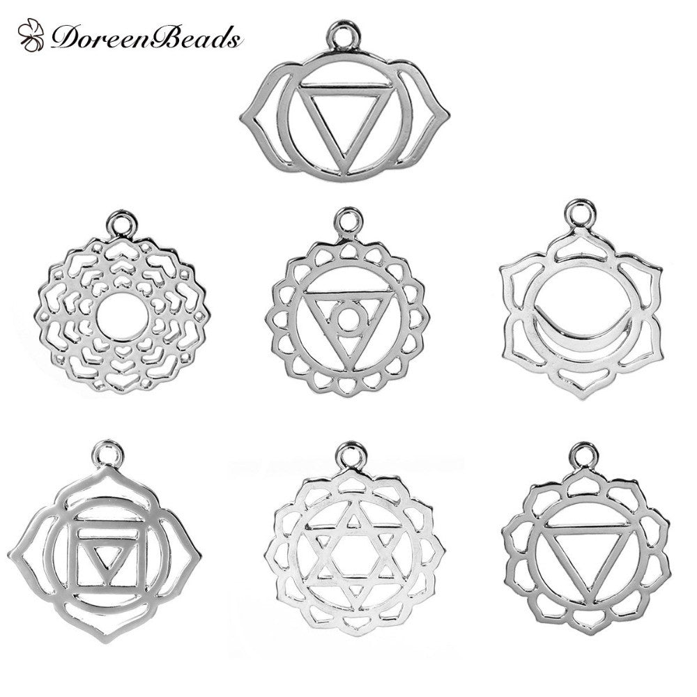 "DoreenBeads Alloy Chakra Pendants Mixed Silver Tone Hollow 3.1cm x2.7cm(1 2/8"" x1 1/8"") - 29mm x23mm(1 1/8"" x 7/8""), 7 PCs"