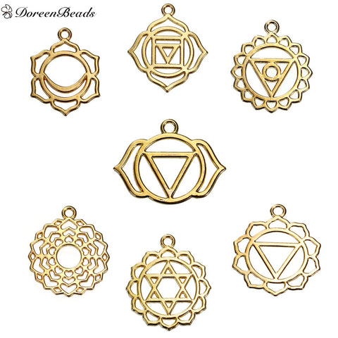 "DoreenBeads Alloy Chakra Pendants Flower Gold Plated Mixed Hollow 31mm(1 2/8"") x 28mm(1 1/8"") - 29mm x23mm(1 1/8"" x 7/8""), 7 PCs"