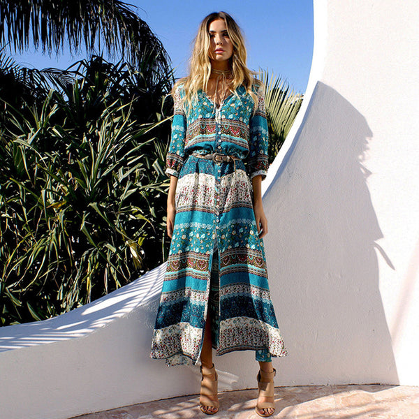 2017 Fashion Spring Summer Long Bohemian Beach Dress Women Half Sleeve Vintage Retro Floral Maxi Dresses Vestidos Mujer Sundress
