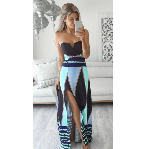 2017 Sexy Women Strapless Maxi Dress Floral Print Color Block Tube Dress Backless Split Slim Beach Long Dress Robe Longue Femme