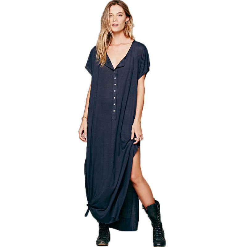 47a8cd2a499 Women Casual Style Short Sleeve Maxi Dress Sexy Loose Side Split Cotto –  Bohemian Gift Stores