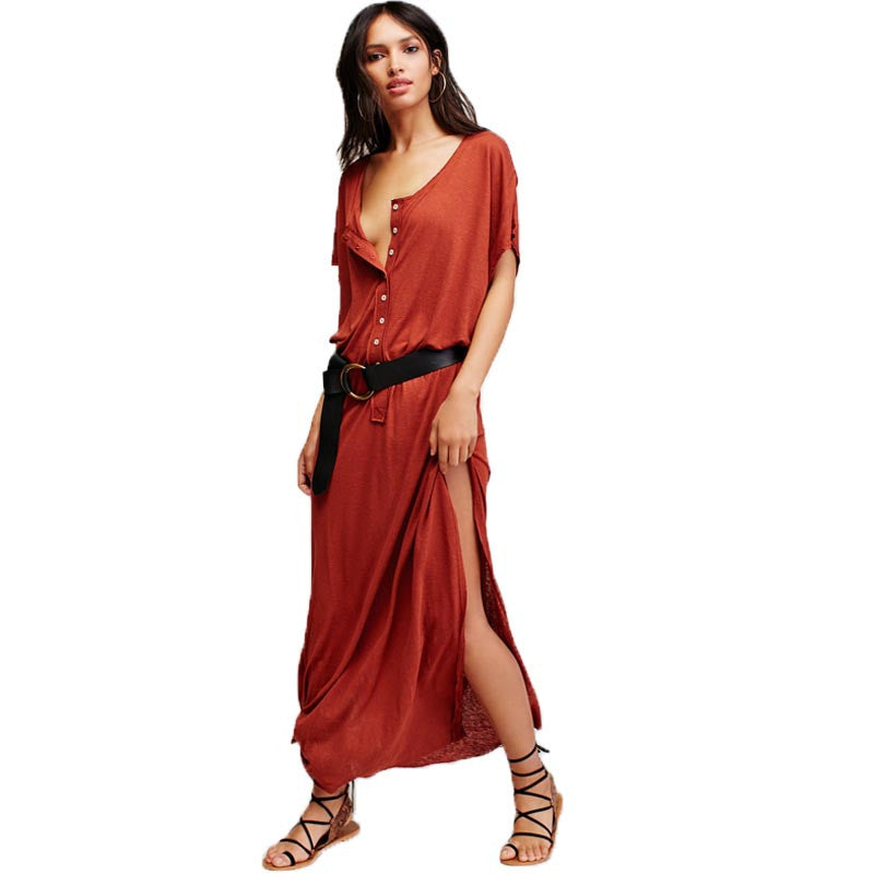 Women Casual Style Short Sleeve Maxi Dress Sexy Loose Side Split Cotton Solid Ladies Summer Long Beach Dress Plus Size