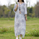 2017 Spring New Casual V-Neck Seven Sleeve Fashion Vintage Geometry Maxi Dress Comfortable Soft