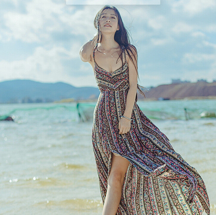 2017 sexy women summer Beach Bohemin long dress ukraine girls Holiday summer long backless maxi dress