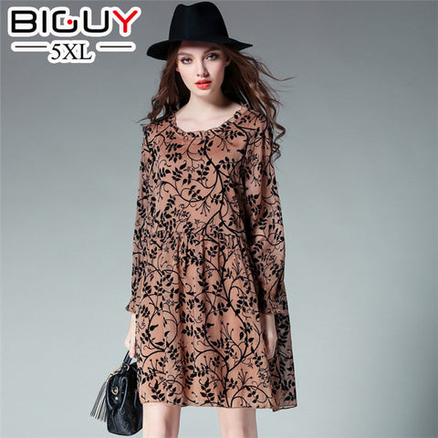 2017 Spring Ladies Beach Dress Plus Size Vintage Dresses Women Floral Printed Brown Black Dress 4XL Roupa Feminina