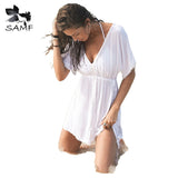 2017 summer solid white summer dresses women clothes drawstring waist sexy pareos