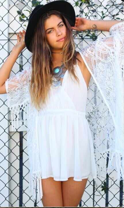 Summer Crochet Kimono With Tassels White Tulle Lace Transparent Blouse Long Sleeve Loose Sexy Kimono - Bohemian Gift Stores