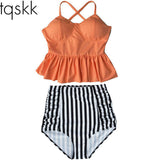 TQSKK 2017 New Bikinis Women High Waist Swimsuit Push Up Bikini Set Swimwear Female Halter Top Beach Wear Bathing Suits Dress XL
