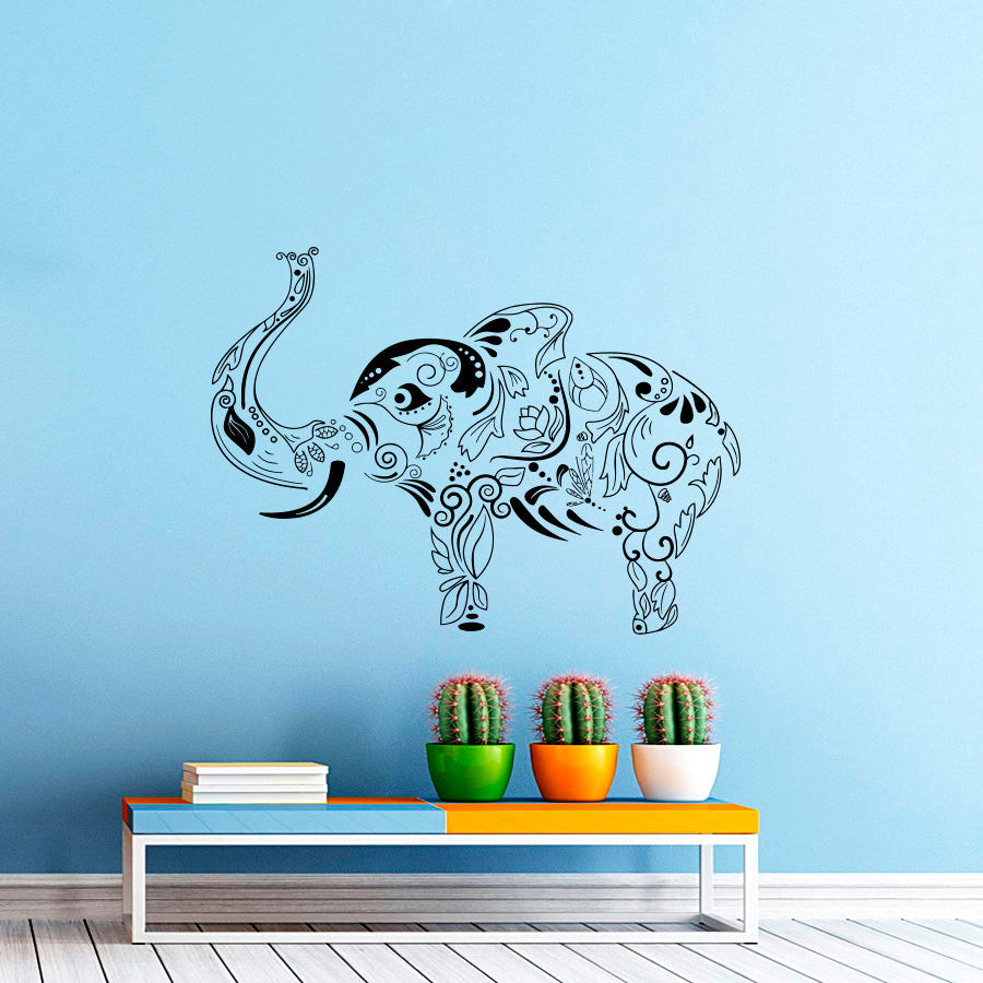Nose Rising Bohemian Elephant Wall Decals Home Livingroom Cool Decoative Vinyl Wall Stickers Religious Bohemian Elephant Wm-334