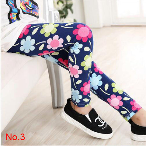 Fashion Spring Summer Girl Pants Flower Printing Girl Leggings Kids Children Pants Girl Clothes 2-13 Years