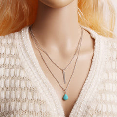 2016 High Quality Turquoise Necklace Bohemian Vintage Antique Silver Statement Necklace Tassel Jewelry Long Necklace Female X29